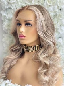BLAKE, BLONDE FACE FRAMING HIGHLIGHTS, CUSTOM DELUXE LACE WIG