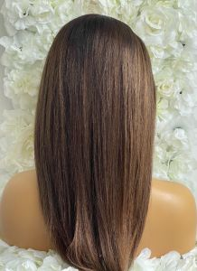 JEANNE CUSTOM DELUXE, ASH BROWN LACE WIG WITH HIGHLIGHTS