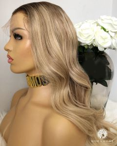 EVE, MEDIUM BLONDE ROOTED, 150% DENSITY, CUSTOM DELUXE LACE WIG