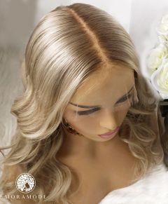 BRITNEY, LIGHT BLONDE BLEND, ROOTED WITH PLATINUM HIGHLIGHTS, CUSTOM DELUXE LACE WIG